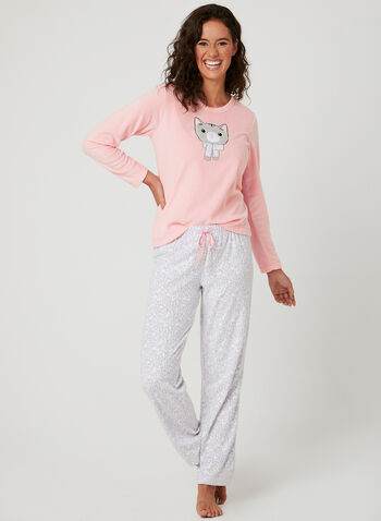 Pillow Talk - Animal Print Pajama Set, Grey, hi-res