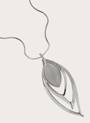 Stone Enhanced Leaf Necklace, Grey, hi-res