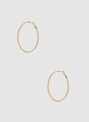 Textured Hoop Earrings, Gold, hi-res,  hoop earrings