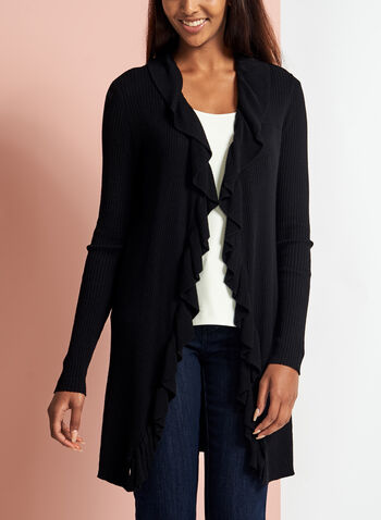 Ruffle Trim Open Front Cardigan, , hi-res