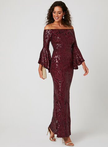 Bell Sleeve Sequin Dress, Red, hi-res