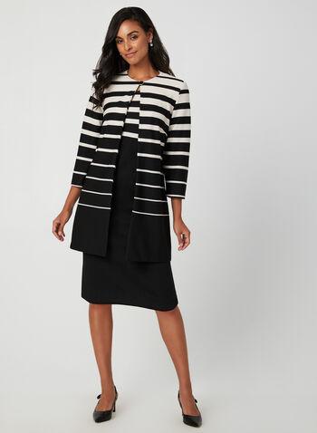 Dress & Jacket Set, Black, hi-res,  fall winter 2019, knit, stripe print, two piece set, long sleeves