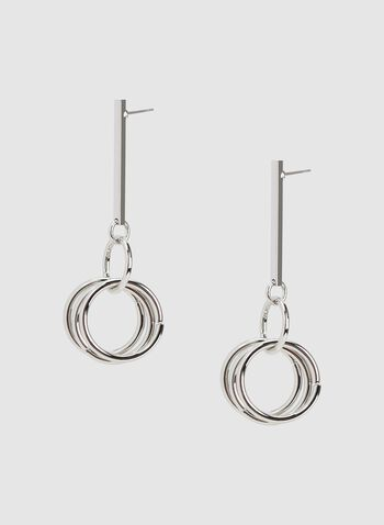 Hoop Dangle Earrings , Silver, hi-res