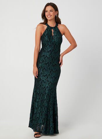 Glitter Lace Gown, Green,  occasion dress, gown, sleeveless, cleo neckline, glitter, lace, keyhole, mermaid, fall 2019, winter 2019