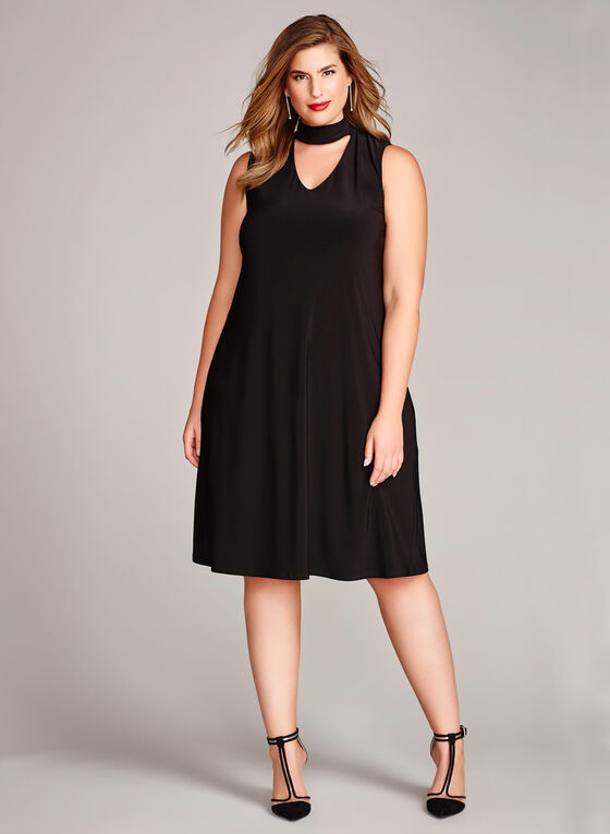 Choker Neck Trapeze Dress, Black, hi-res