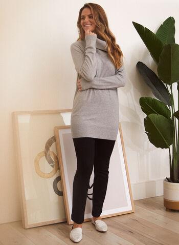 Tunique en tricot à col bénitier, Gris,  haut, tunique, chandail, col bénitier, tricot côtelé, manches longues, automne hiver 2021, confort, weekend, détente