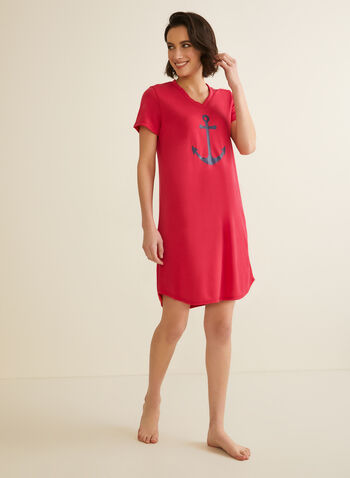 Claudel Lingerie - Anchor & Boat Motif Nightshirt, Red,  pyjamas, nightshirt, boat, anchor, v-neck, short sleeves, spring summer 2020