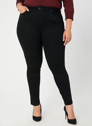 Signature Fit Straight Leg Jeans, Black, hi-res,  jeans, Signature Fit, straight leg, rhinestones, fall 2019, winter 2019