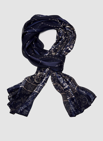Scroll Print Glitter Accent Scarf, Blue, hi-res