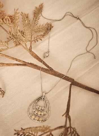 Teardrop Pendant Necklace, Yellow,  made in Canada, accessories, jewellery, jewelry, necklace, adjustable, teardrop, fall winter 2021