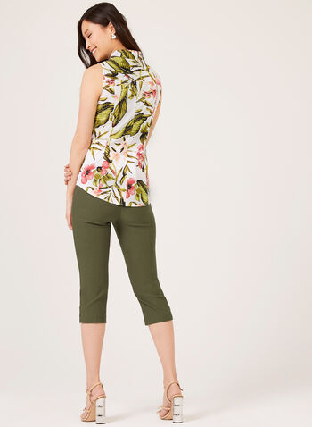 Sleeveless Floral Print Shirt, Green, hi-res