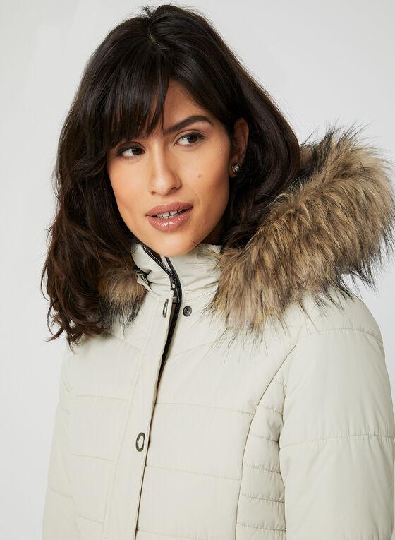 Manteau matelassé avec capuchon amovible, Blanc cassé