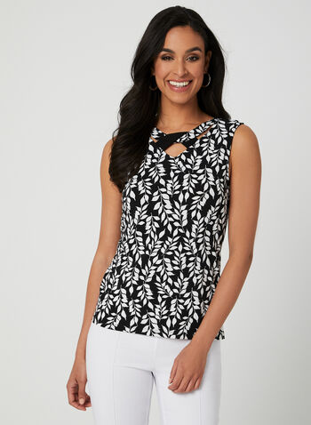 Leaf Print Sleeveless Top, Black, hi-res