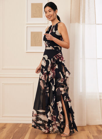 Floral Print Cleo Neck Dress, Blue,  evening dress, cleo neck, floral, sleeveless, tie detail, pleated, chiffon, cinched, ruffled, cascade, high slit, spring summer 2021