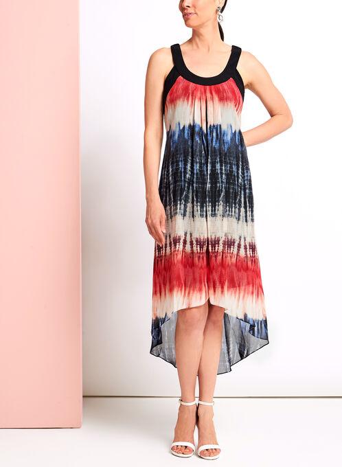 Tie Dye Print High-Low Dress, Red, hi-res