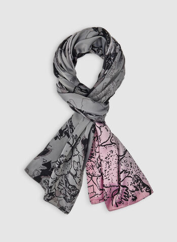 Abstract Print Scarf, Grey,  floral print, lightweight, fall 2019, winter 2019