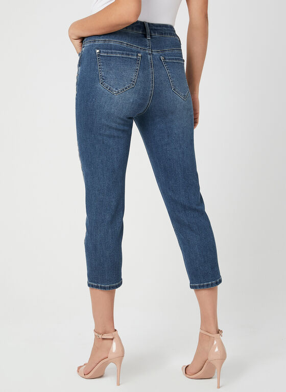 Modern Fit Denim Capri Pants, Blue