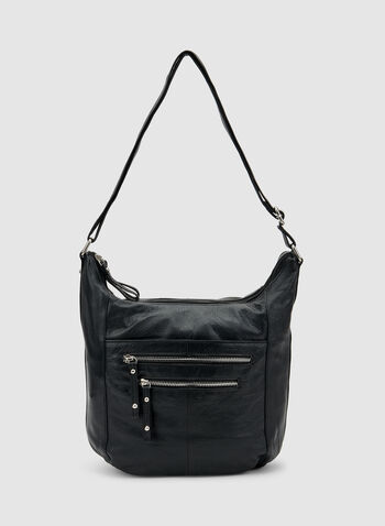 Genuine Leather Hobo Bag, Black, hi-res,  adjustable strap, spring 2019