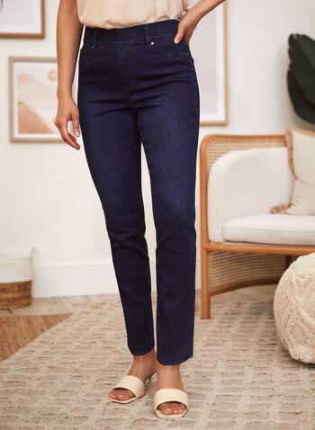 Slim Leg Pull On Jeans, Blue,  fall winter 2021, jeans, denim, pull on, pants, slim leg, pockets, zipper, faux zipper, stretch