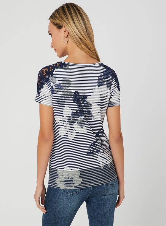 T-shirt rayé avec imprimé floral, Bleu, hi-res