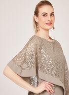 Sequin Lace Poncho Dress, Brown, hi-res