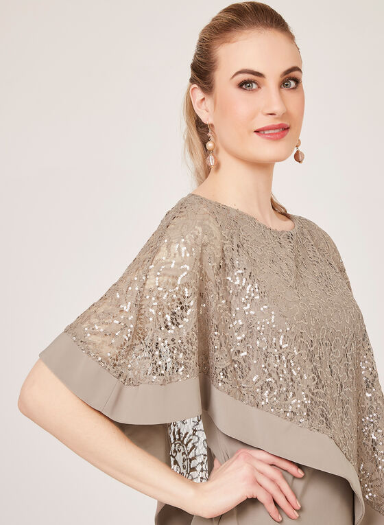 Sequin Lace Poncho Dress, Brown, hi-res