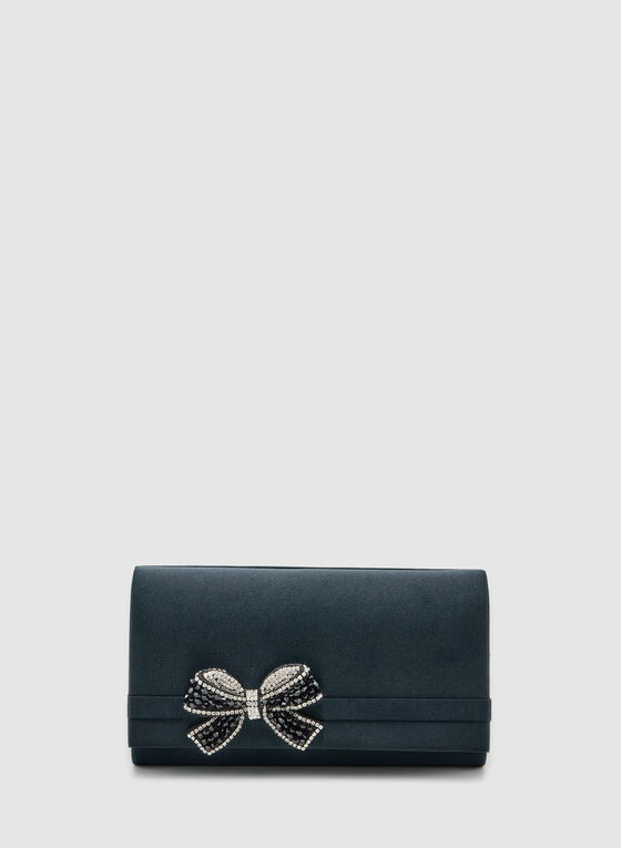 Bow Detail Clutch, Blue