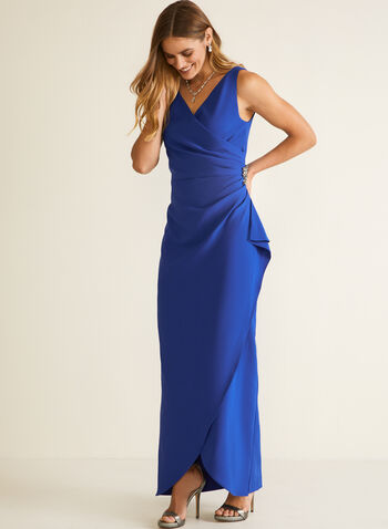 Wrap Evening Dress, Blue,  fall winter 2020, parties, parties 2020, dress, crepe, stretch, draping, v-neck, sparkly brooch, sleeveless, holiday, holiday 2020, gift