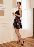 Printed Satin & Jersey Dress, Black
