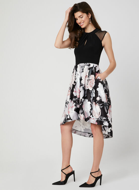 Floral Print Fit & Flare Dress, Black