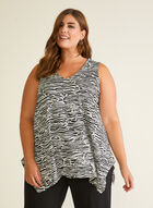 Abstract Print Sleeveless Top, Black