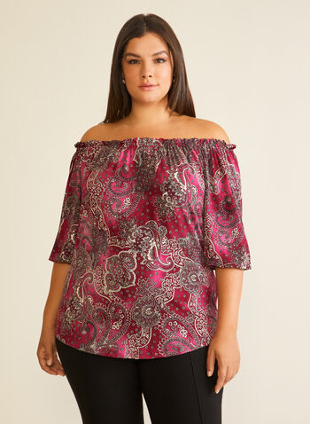 Paisley Print Bardot Neckline Blouse, Purple,  top, bardot, paisley, jersey, elbow sleeves, fall winter 2020