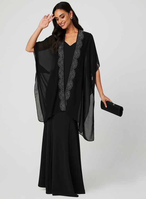 Beaded Open Front Poncho, Black, hi-res