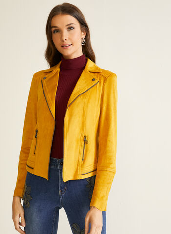 Zipper Detail Faux Suede Jacket, Yellow,  jacket, faux suede, faux leather, zipper, notched collar, open front, fall winter 2020