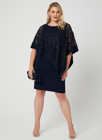 Sequin Lace Poncho Dress, Blue, hi-res,  jersey, sleeveless, spring 2019
