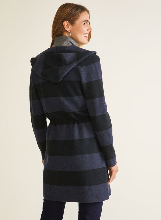 Stripe Print Hooded Cardigan, Blue
