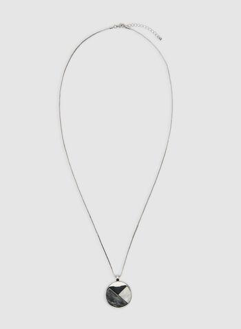 Collier à pendentif circulaire, Gris, hi-res,  automne hiver 2019, collier, chaîne, pendentif