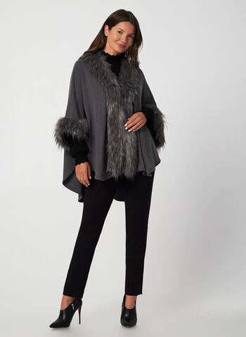 Faux-Fur Trim Knit Shawl, Grey,