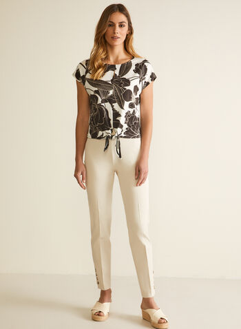 Floral Print Tie Detail Top, White,  top, floral, tie, crepe, short sleeves, cap sleeves, round neck, scoop neck, fall winter 2020