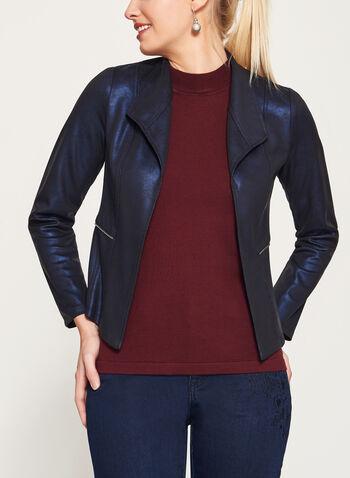 Scuba Knit Zipper Trim Jacket , Blue, hi-res