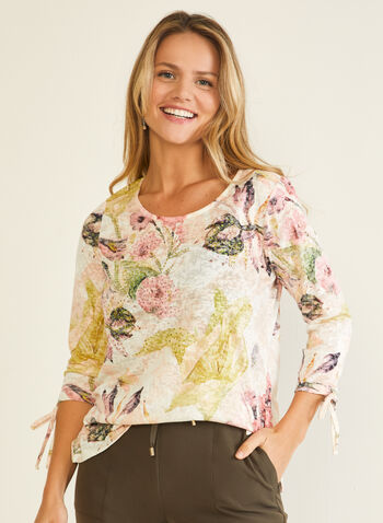Floral Print Tie Sleeve Top, Green,  t-shirt, 3/4 sleeves, floral, rhinestones, tie, fall winter 2020