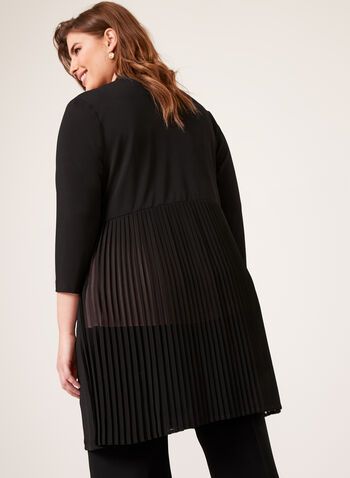 Linea Domani - ¾ Sleeve Pleated Chiffon Cover Up, Black, hi-res