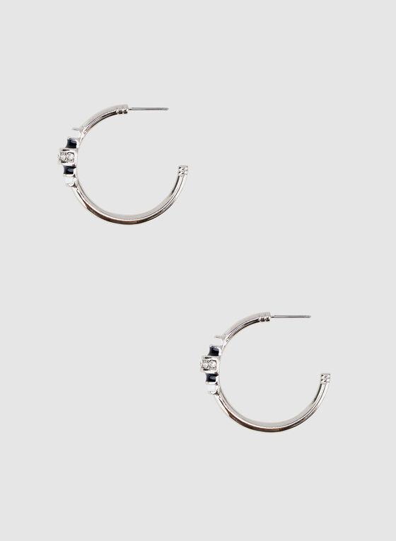 Boucles d'oreilles à anneaux et détails de cristaux, Bleu, hi-res