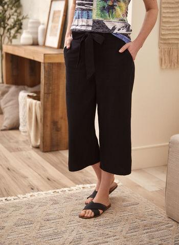 Capri jambe large avec ceinture , Noir,  pantalon, capri, à enfiler, pull-on, jambe large, ganses, ceinture, poches, fentes, lin, élastique, printemps été 2021