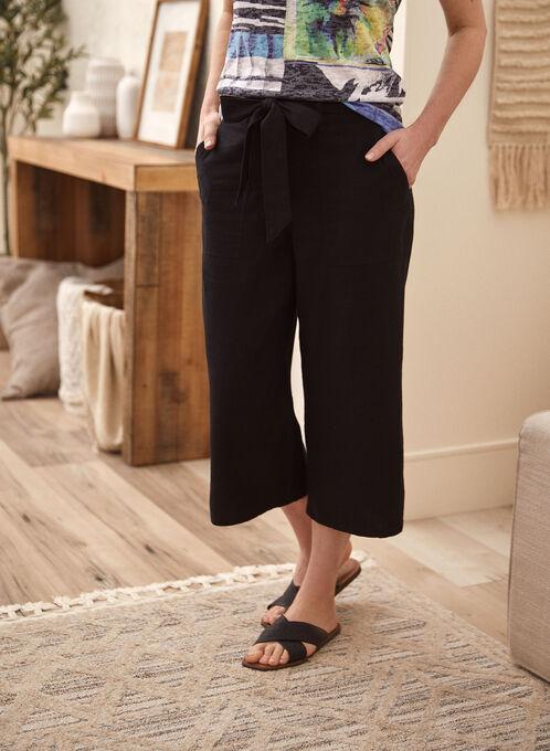 Wide Leg Capri Pants, Black