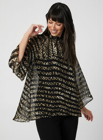 Leopard Print Blouse, Black,  animal print, stripe print, chiffon, long sleeves, fall 2019, winter 2019