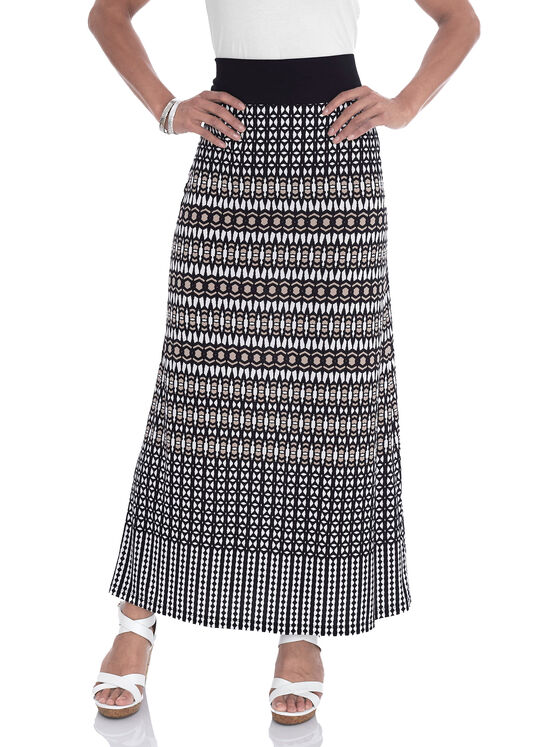 Stripe Print Maxi Skirt, White, hi-res