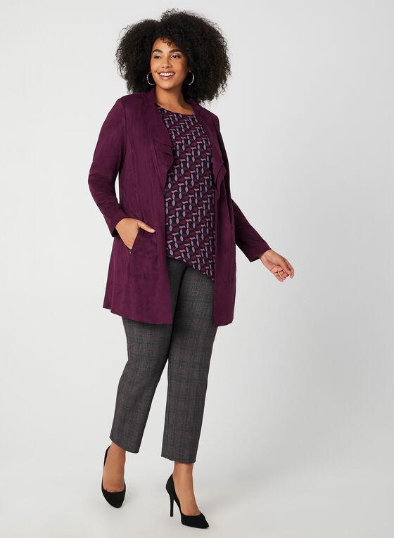 Faux Suede Open Front Jacket, Purple, hi-res