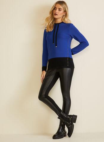 Pull deux tons à détails liens, Bleu,  automne hiver 2020, pull, liens, tricot, chandail, manches longues, clous, métallique, métallisé