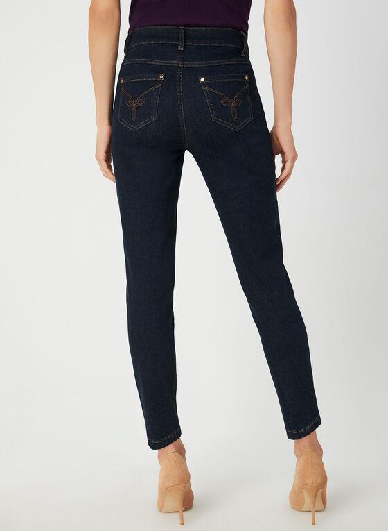 Jeans coupe signature à détail porte-clefs, Bleu, hi-res